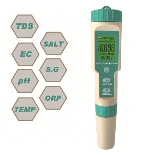 Newest 7 in 1 PH/TDS/EC/ORP/Salinity /S. G/Temperature Water Tester C-600
